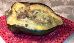 Stuffed acorn squash with sausage